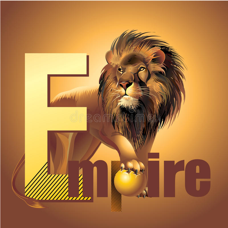 Empire lion king of beasts vector power. Predator cat family mane stock illustration
