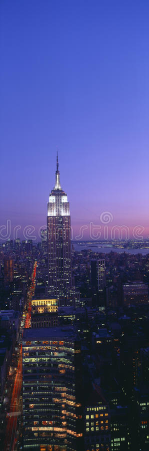 Empire State Building. At Sunset, View from 5AV & 42nd Street, New York royalty free stock photos