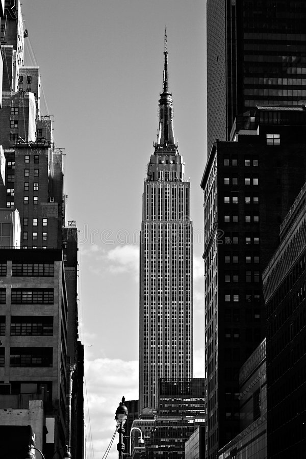 Empire State Building in black and white royalty free stock image