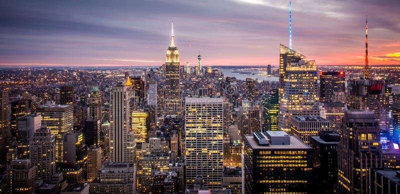 Empire State Building, de Stad Manhattan van New York tijdens Zonsondergang stock afbeelding