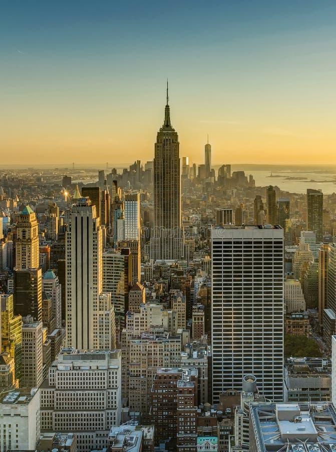 Empire State Building för New York horisontManhatten Cityscape arkivfoto