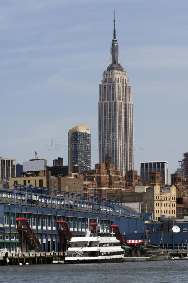 Empire State Building from the Hudson royalty free stock image