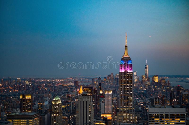 Empire State Building New York au crépuscule image stock