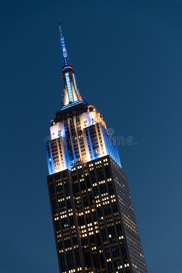 Empire State Building at Night. In Blue, Yellow, and White - August 16, 2017 royalty free stock images