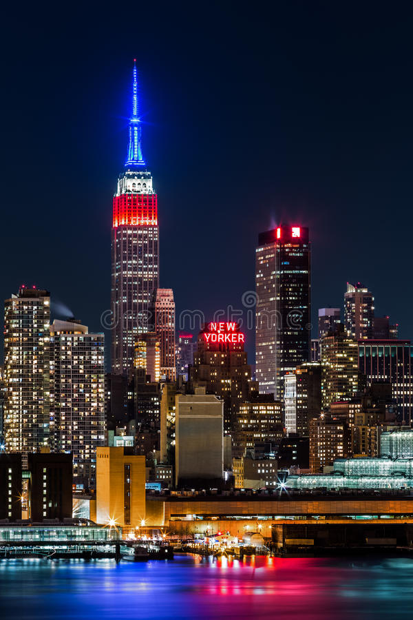 Empire State Building par nuit. image stock