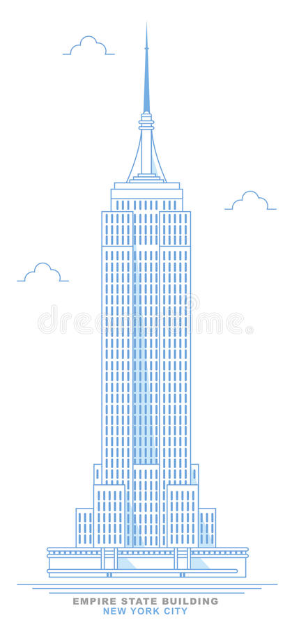 Empire State Building stylized, freehand design. New York City skyscraper stock illustration