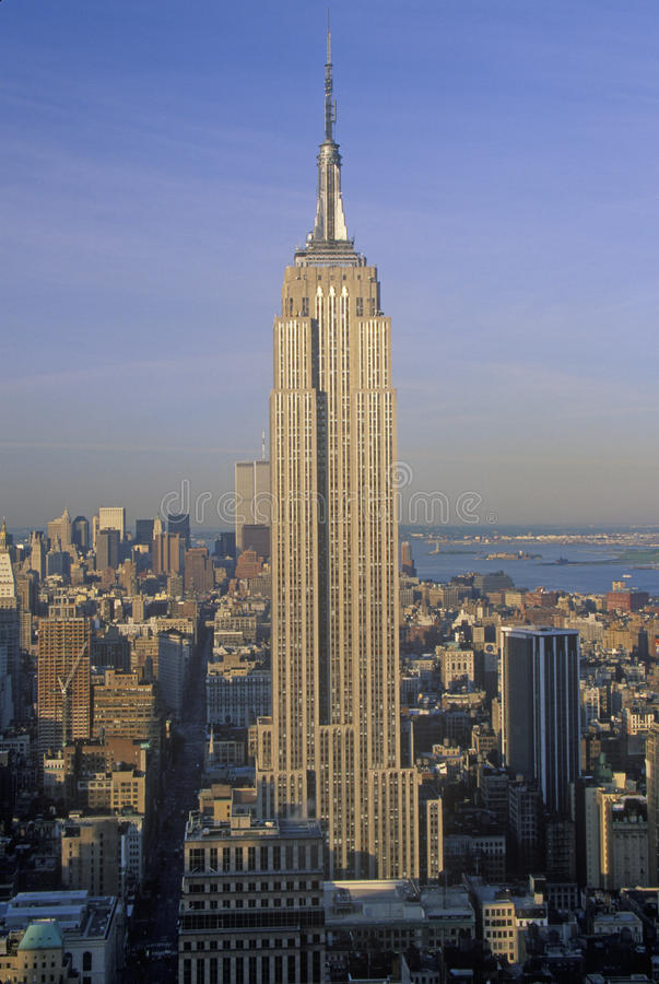 Empire State Building at sunrise, New York City, NY stock photos