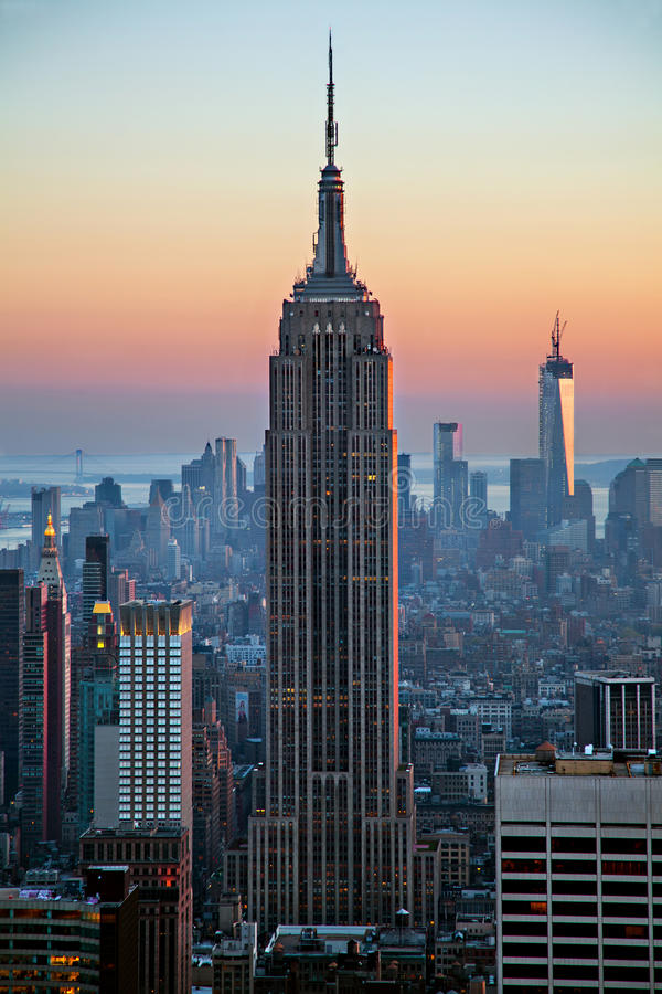 Empire State Building at sunset royalty free stock photo