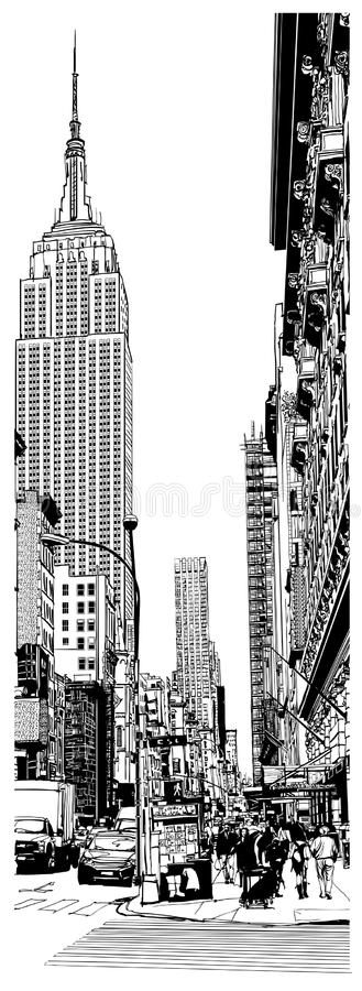 Empire State Building and 5th avenue in New York. Vector illustration royalty free illustration