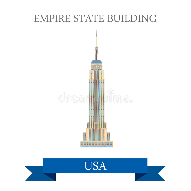 Empire State Building w Nowy Jork, Stany Zjednoczone ilustracji