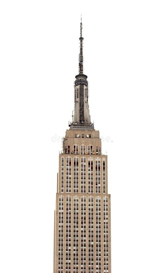Empire State Buildingtribunes uit tegen vlakke witte hemel stock fotografie