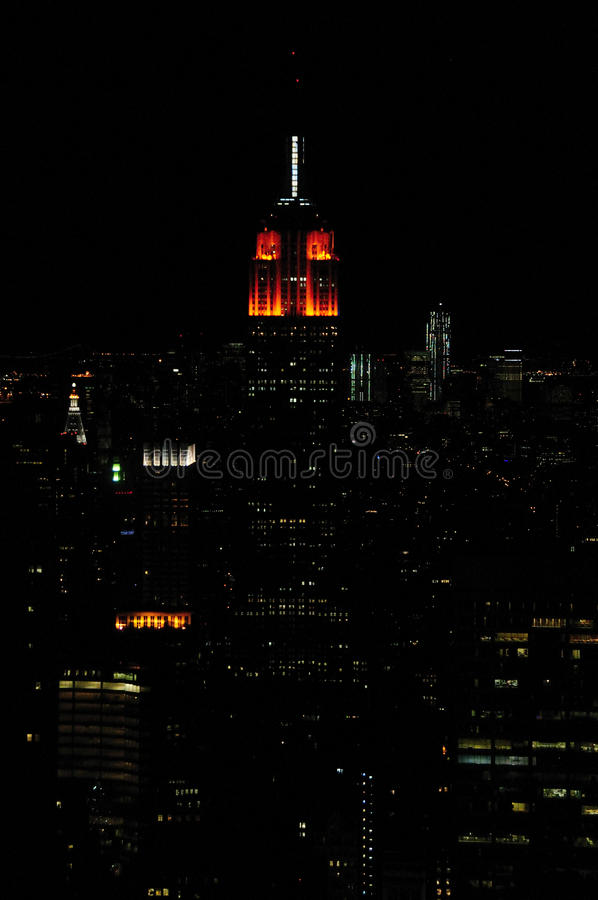 Empire State At Night Editorial Stock Photo