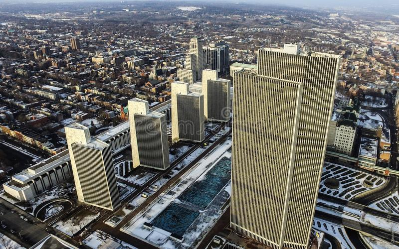 Empire State Plaza Aerial in Downtown Albany, NY stock image