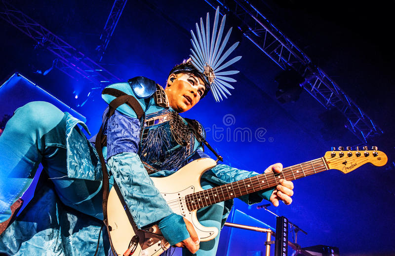 Empire of the Sun concert. Australian electropop band Empire of the Sun performing live at Arena club, Moscow, Russia royalty free stock photography