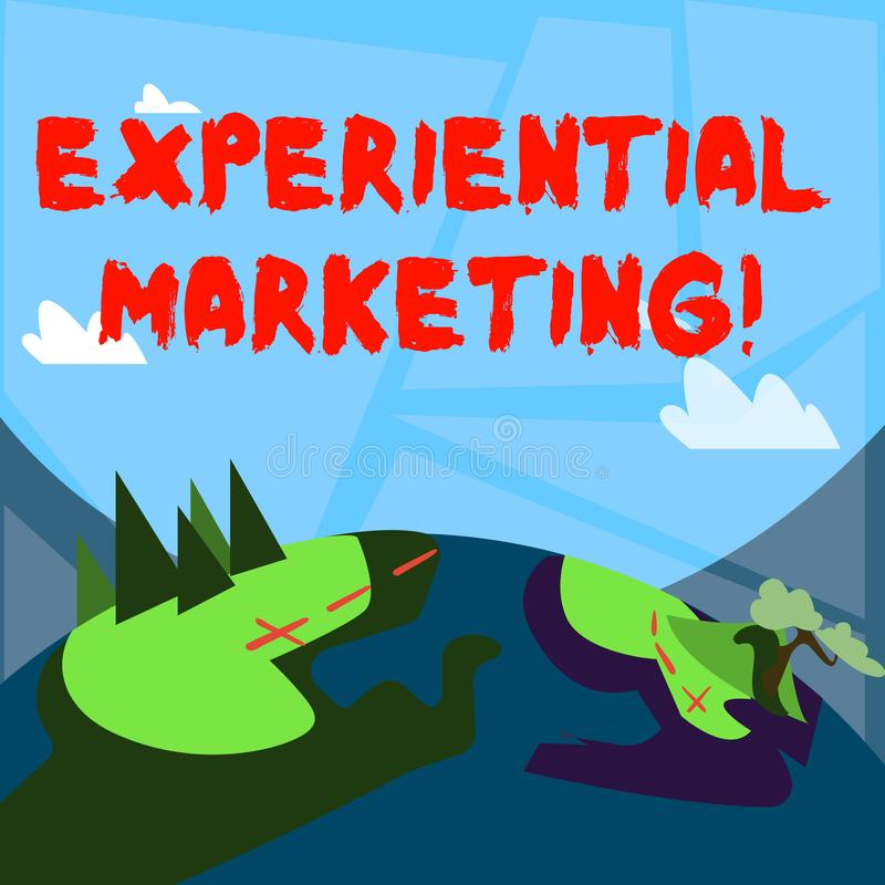 Empirisk marknadsföring för ordhandstiltext Affärsidé för marknadsföringsstrategi som kopplar in direkt konsumenter vektor illustrationer