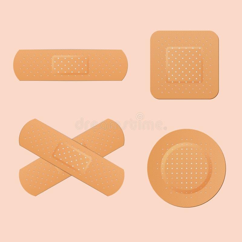 Emplâtre adhésif médical, première protection pour la peau coupée Vecteur illustration de vecteur