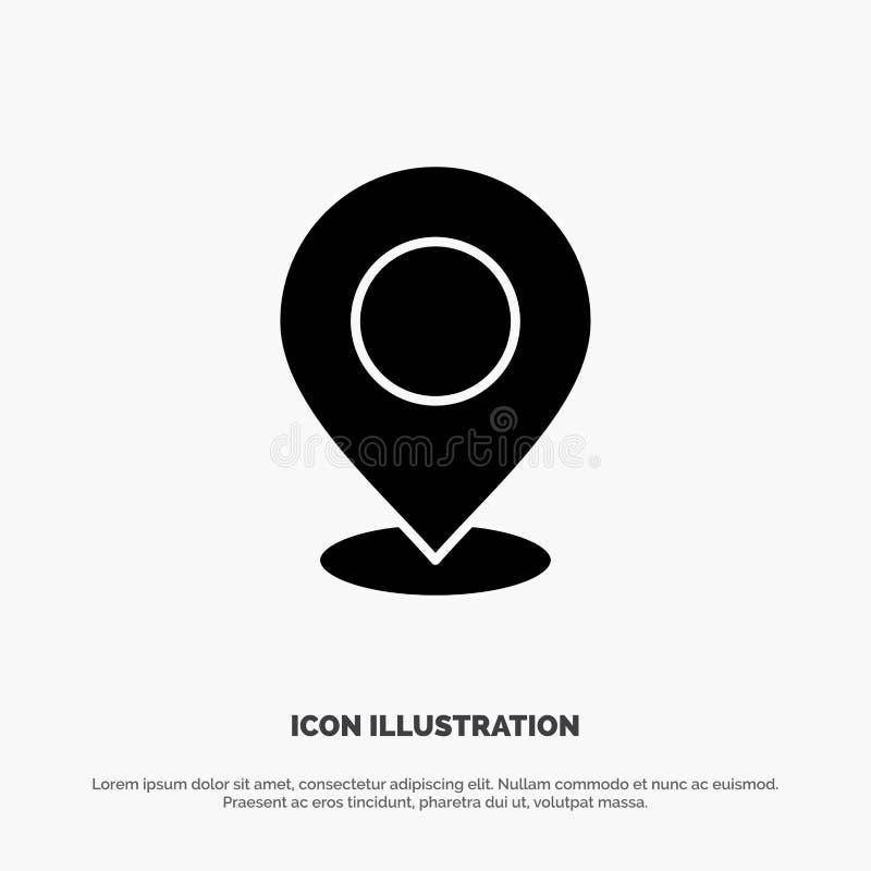 Emplacement, carte, marque, marqueur, Pin, endroit, point, vecteur solide d'icône de Glyph d'indicateur illustration stock