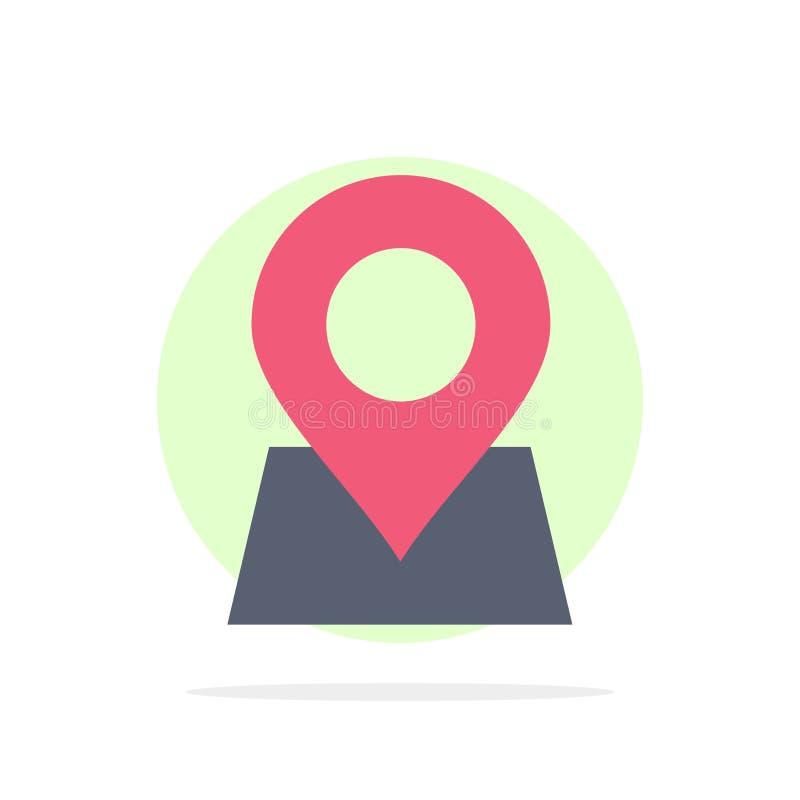 Emplacement, carte, marqueur, icône de couleur de Pin Abstract Circle Background Flat illustration libre de droits