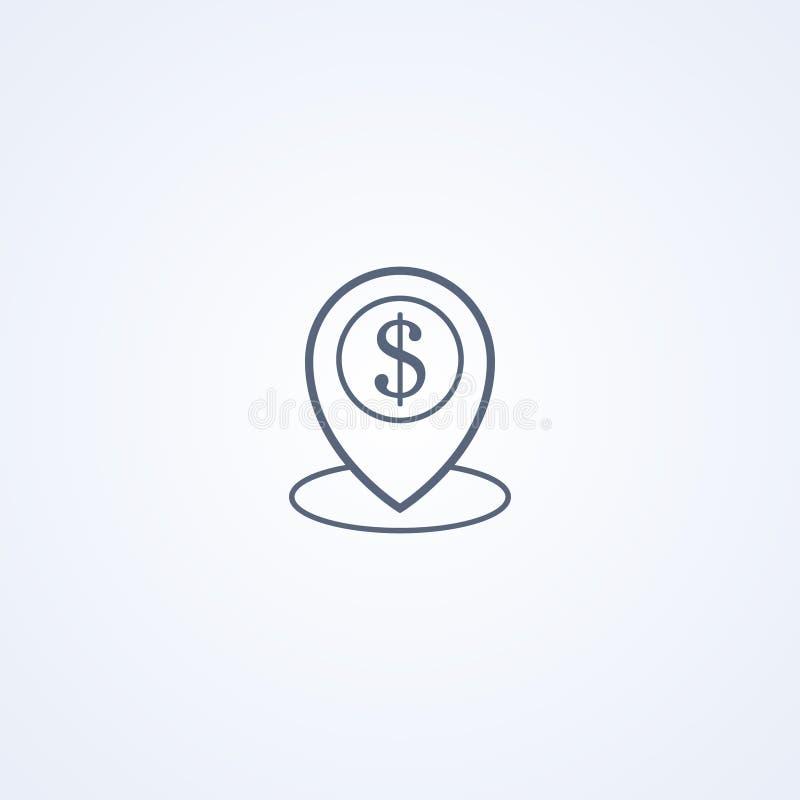 Emplacement de banque, la meilleure ligne grise icône de vecteur illustration stock