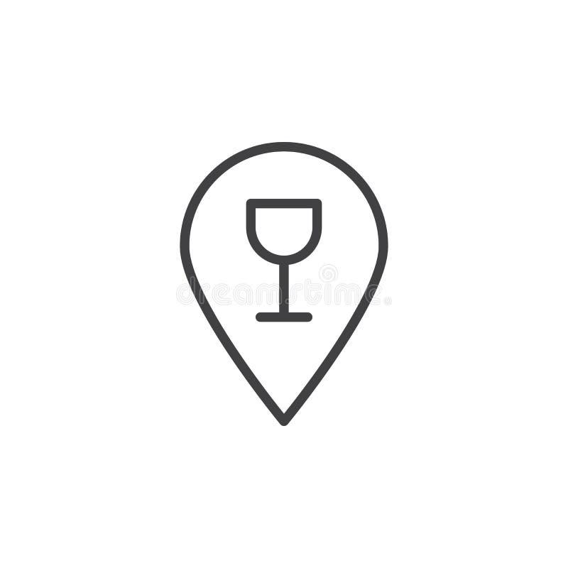 Emplacement de barre avec la ligne icône en verre de vin illustration libre de droits