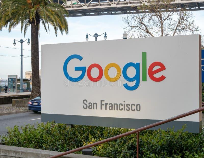 Emplacement de bureau de Google San Francisco outre de bord de mer d'Embarcadero photo libre de droits