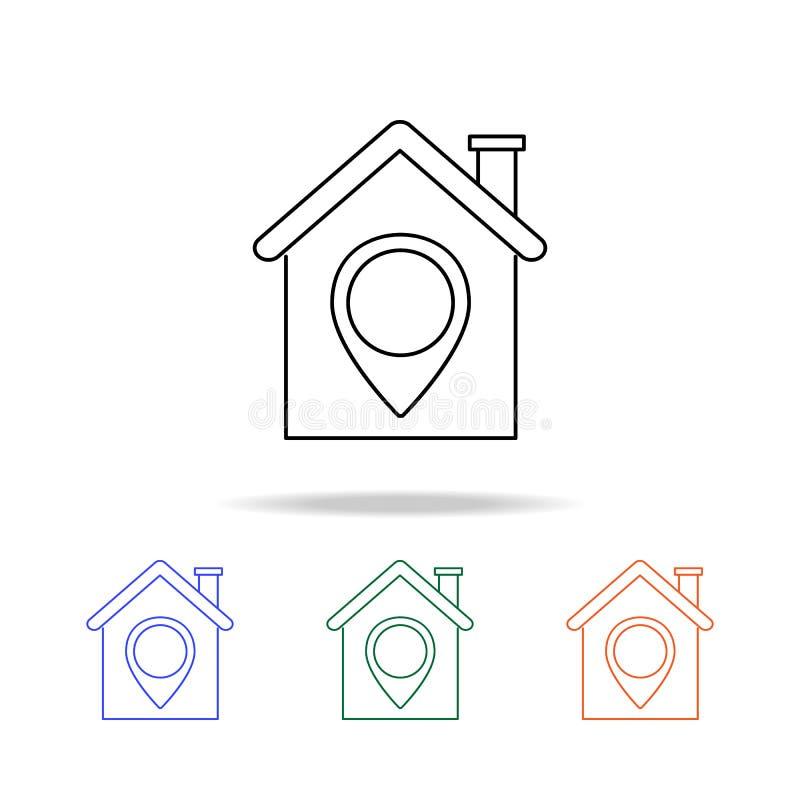 emplacement de la maison ou de l'icône d'indicateur Éléments des immobiliers dans les icônes colorées multi Icône de la meilleure illustration libre de droits