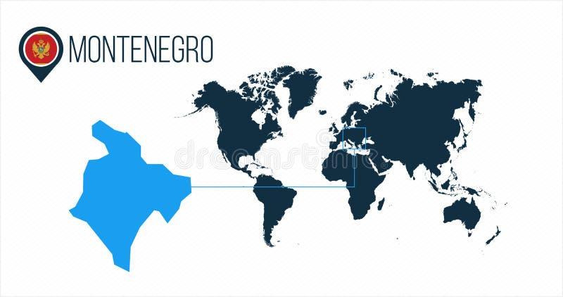 Emplacement de Monténégro sur la carte du monde pour l'infographics Tous les pays du monde sans noms Drapeau de rond de Monténégr illustration libre de droits