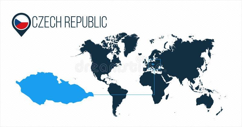 Emplacement de République Tchèque sur la carte du monde pour l'infographics Tous les pays du monde sans noms Drapeau rond de Répu illustration de vecteur