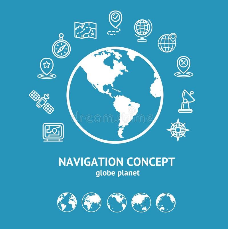 Emplacement et silhouette de concept et de globe de navigation Vecteur illustration libre de droits