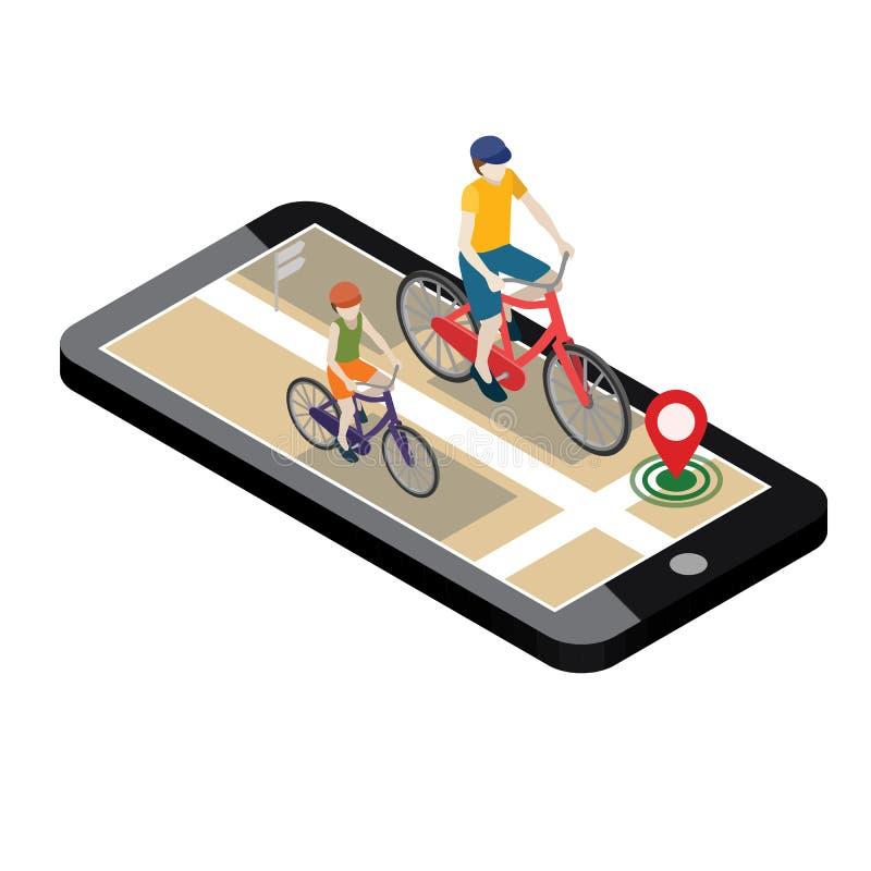 Emplacement isométrique Cheminement mobile de geo Cyclistes féminins et masculins montant sur une bicyclette carte illustration stock