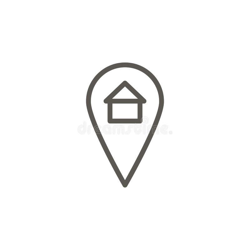 Emplacement, maison, icône à la maison de vecteur Illustration simple d'?l?ment de concept d'UI Emplacement, maison, icône à la m illustration stock