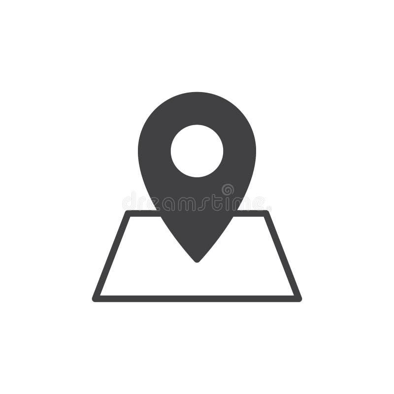 Emplacement sur le vecteur d'icône de carte, signe plat rempli, pictogramme solide d'isolement sur le blanc illustration de vecteur