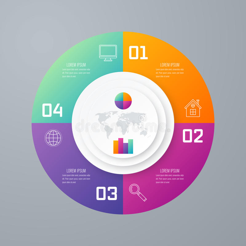 Emplate para el diagrama del ciclo, gráfico, presentación libre illustration