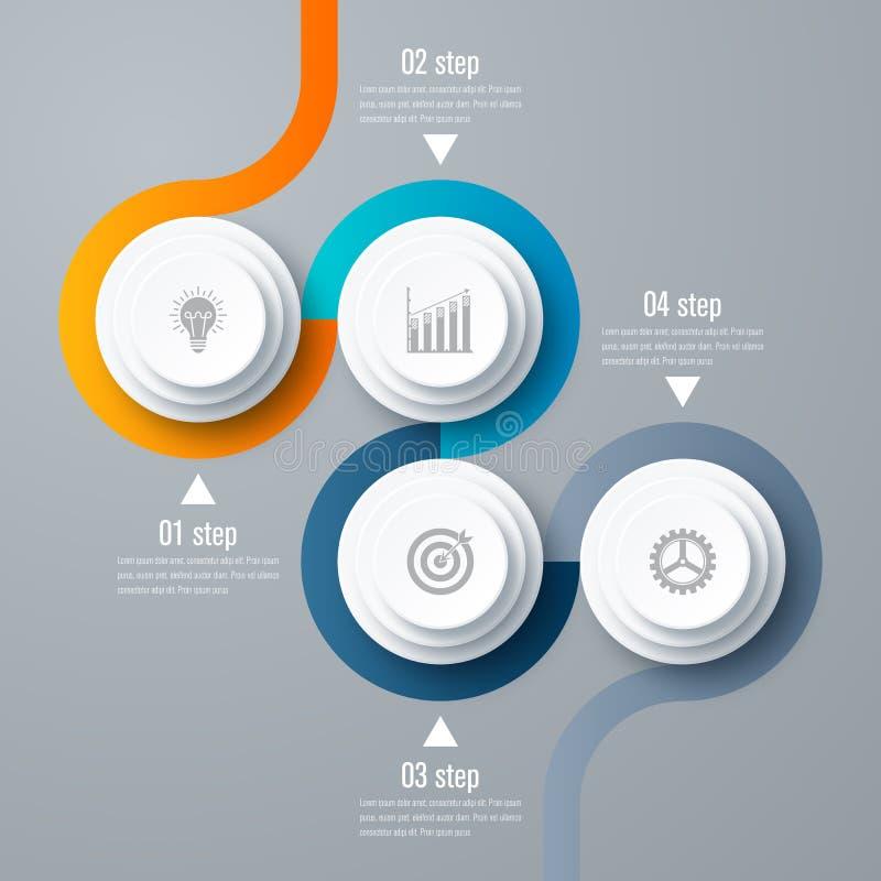 Emplate para el diagrama del ciclo, gráfico, presentación ilustración del vector