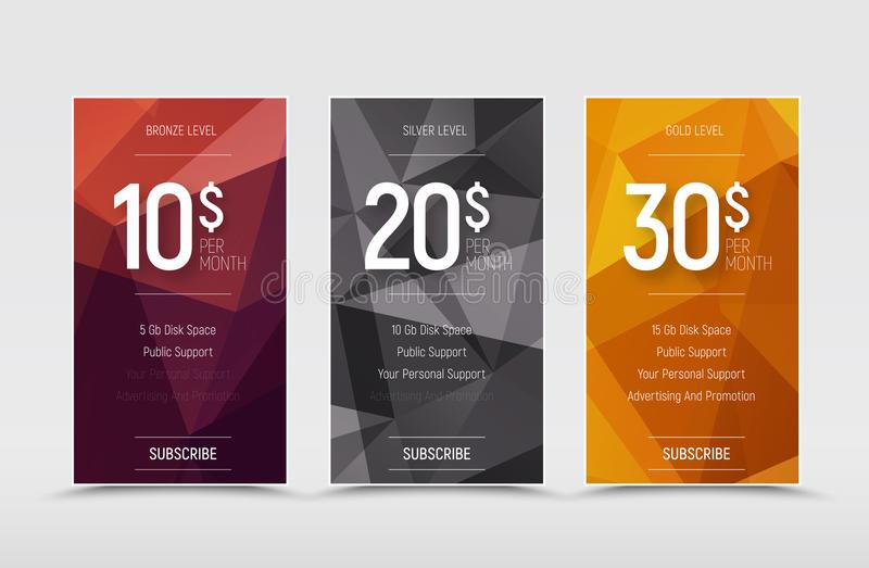 Emplate of vector price tables for a web site. Template of vector price tables for a web site. Design banners with polygonal abstract elements and bronze royalty free illustration