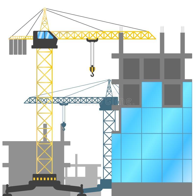 Emplazamiento de la obra con y los edificios de grúa bajo construcción Ejemplo del vector de la construcción de casas stock de ilustración