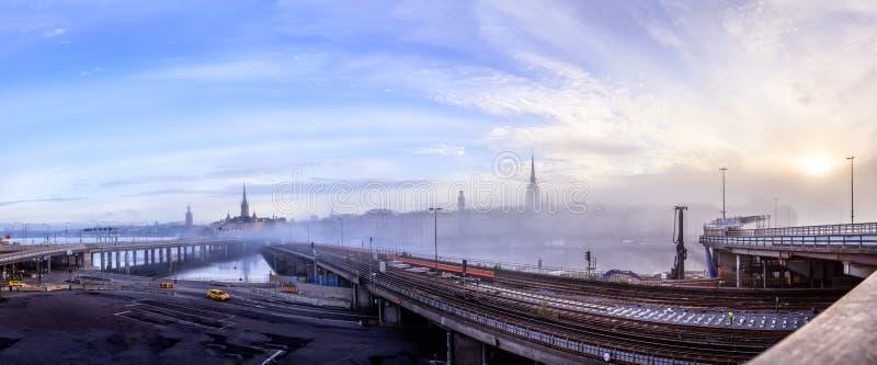 Emplazamiento de la obra del nuevo Slussen en Estocolmo, Suecia imagenes de archivo