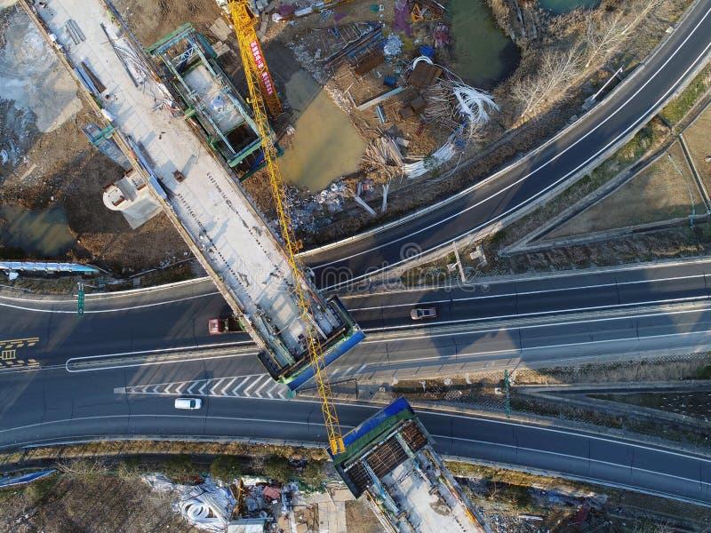 Emplazamiento de la obra ferroviario de alta velocidad de China fotos de archivo libres de regalías