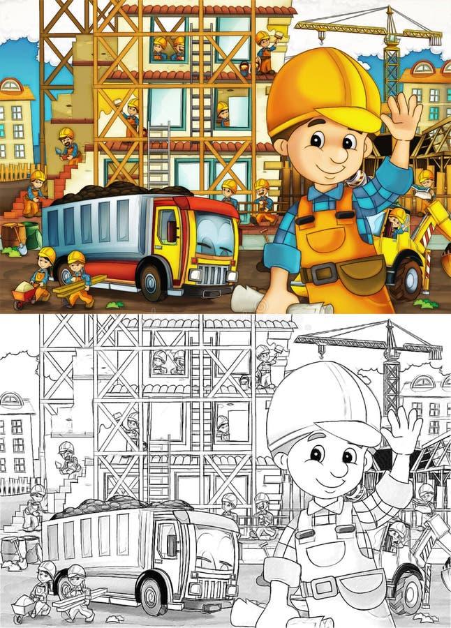 Emplazamiento de la obra - página del colorante con avance stock de ilustración