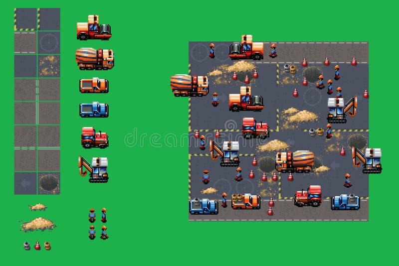 Emplazamiento de la obra - sistema del vector de los elementos del juego del estilo del arte del pixel stock de ilustración