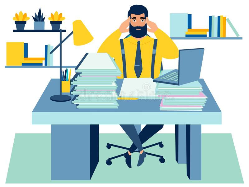 Empleado cansado en el trabajo Confundido en los documentos En estilo minimalista Vector plano de la historieta libre illustration