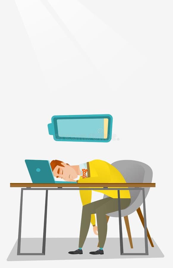 Empleado cansado que duerme en el lugar de trabajo stock de ilustración