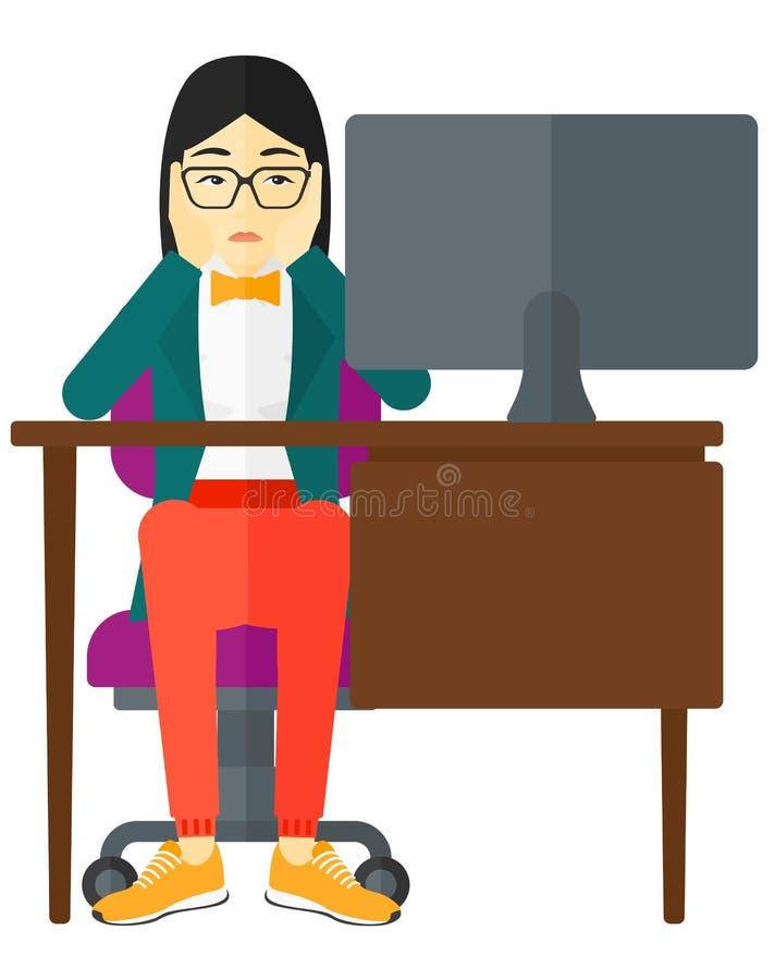 Empleado cansado que se sienta en oficina stock de ilustración
