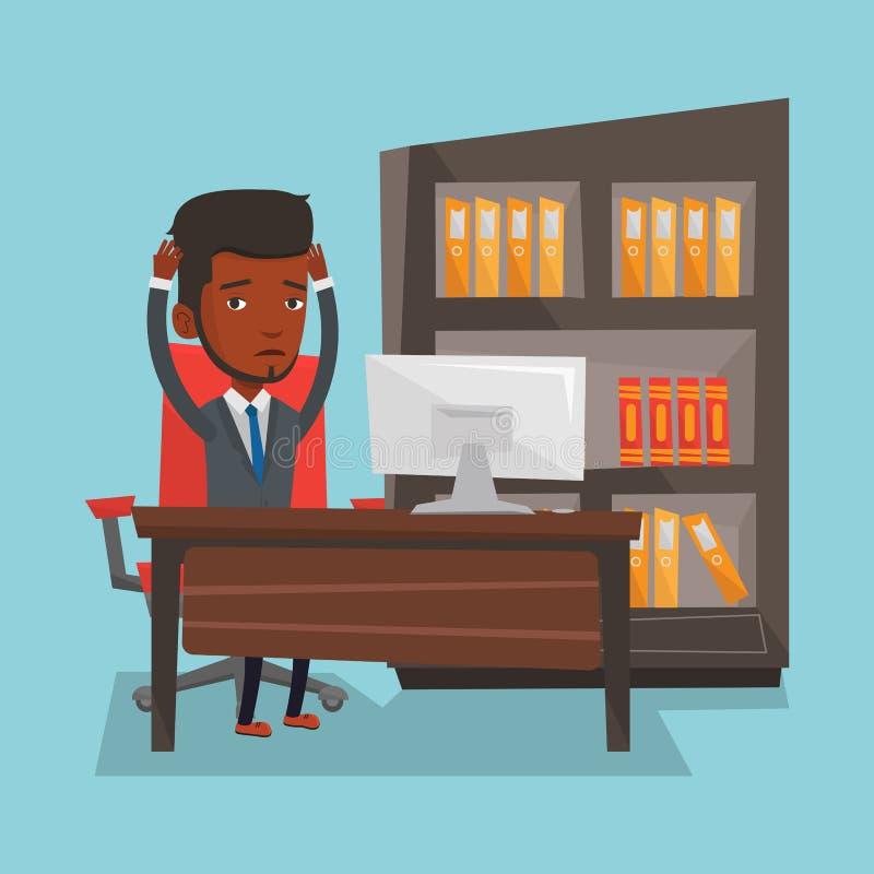 Empleado cansado que trabaja en oficina ilustración del vector