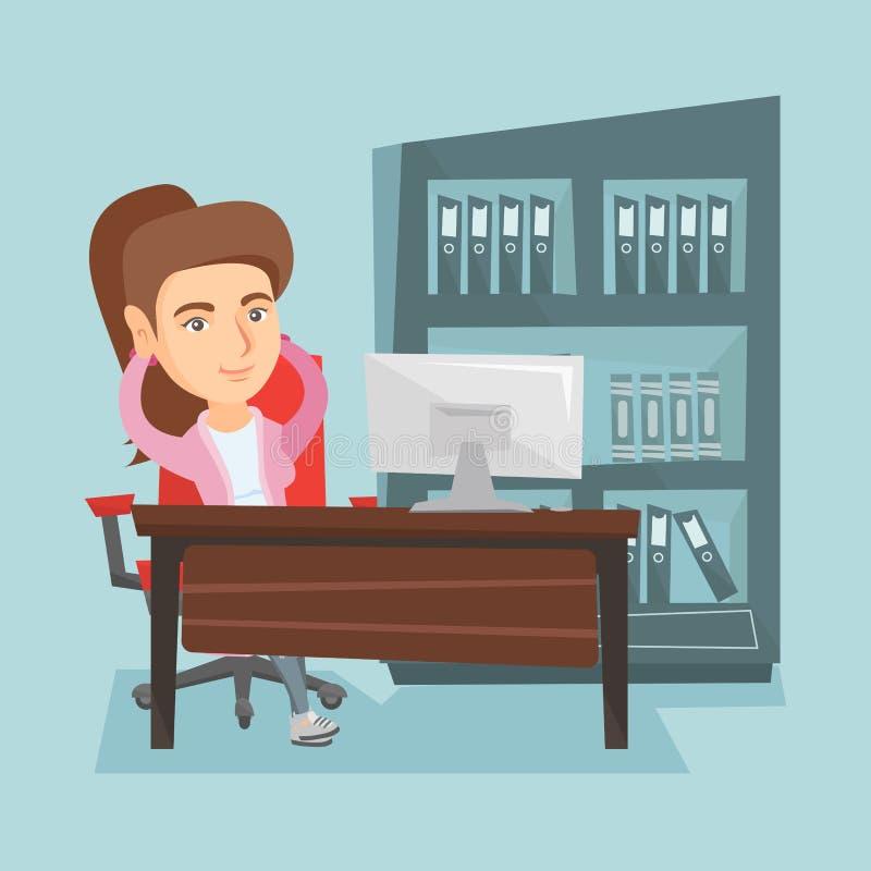 Empleado caucásico joven que se relaja en oficina stock de ilustración