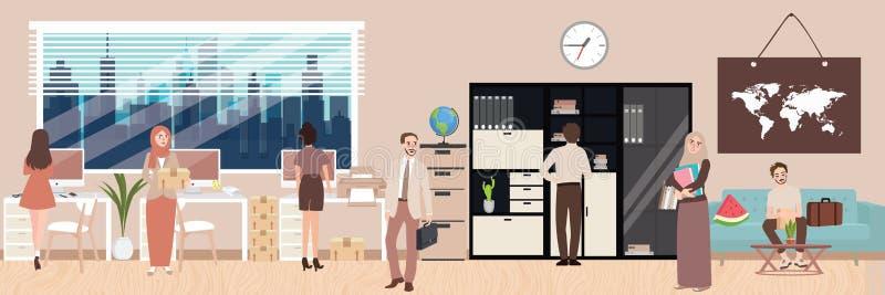 Empleado de la situación de la oficina que trabaja al grupo de personas interior de la discusión libre illustration