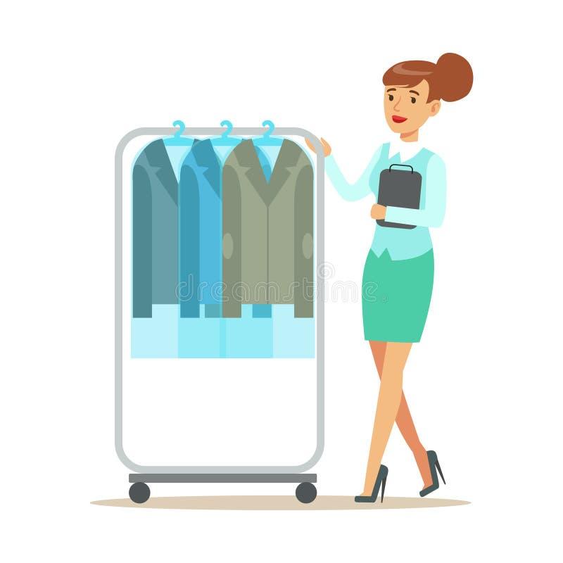 Empleado de mujer que rueda un carril con las chaquetas limpias del traje, parte de gente que utiliza servicio profesional de la  ilustración del vector