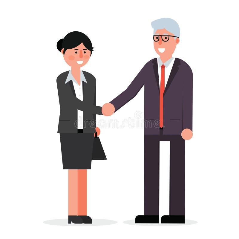 Empleado de sexo femenino joven y hombre de negocios mayor que sacuden las manos y s ilustración del vector
