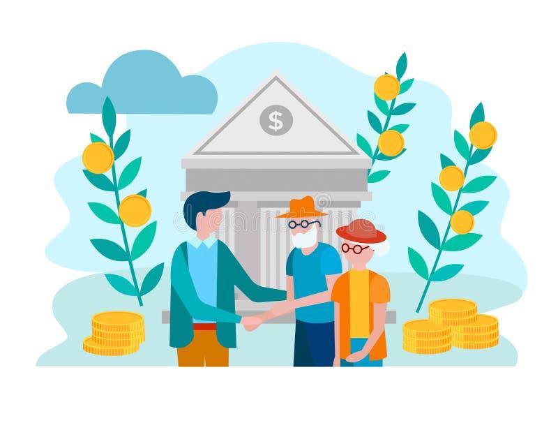 Empleado del banco y un par de pensionistas en el fondo del th ilustración del vector
