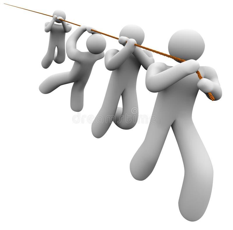 Empleado del trabajo en equipo de la cooperación de Team Working Together Pulling Rope stock de ilustración